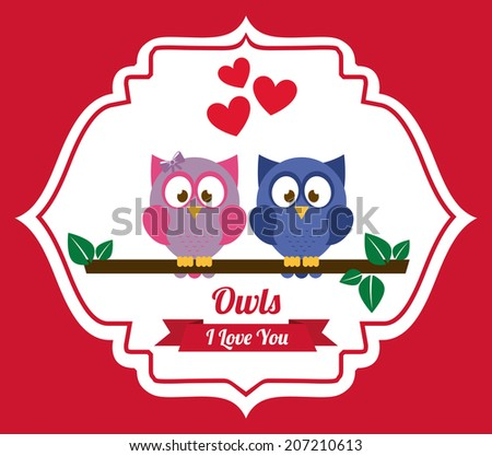 owl design over pink background vector illustration - stock vector
