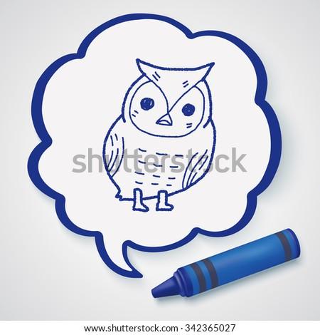 owl doodle - stock vector