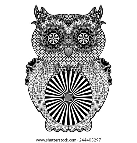 Owl Doodle Art Black and White  - stock vector