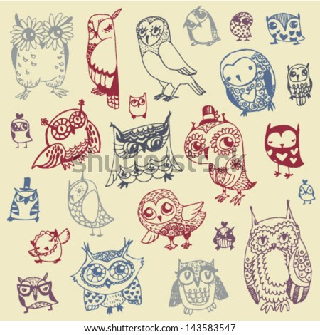 Owl Doodle Collection - hand drawn - vector - stock vector