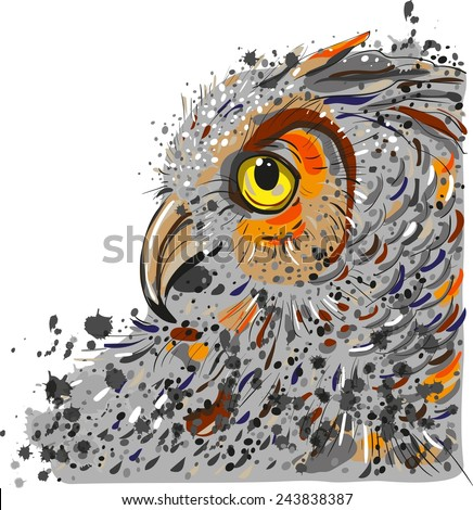 owl head in profile on a white background - stock vector