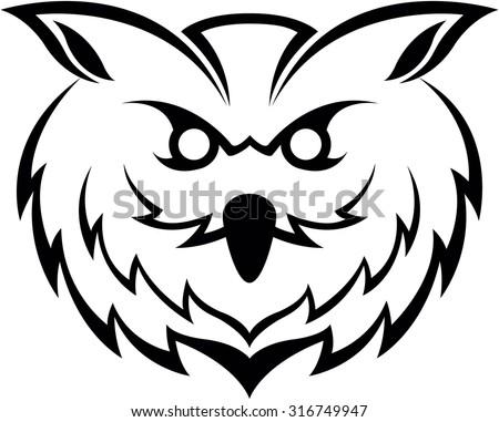 Owl head symbol - stock vector
