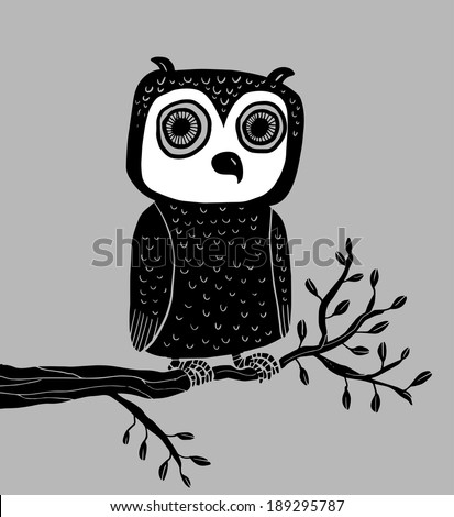 Owl in a branch - stock vector
