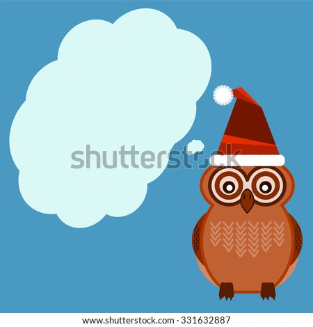 Owl in a Christmas hat gives advice, speech bubble - stock vector
