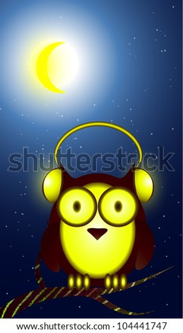 Owl in headphones at night - stock vector