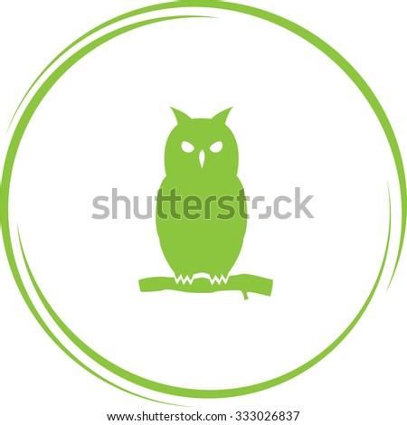 owl. Internet button. Vector icon. - stock vector