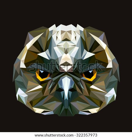 Owl low poly design. Triangle vector illustration. - stock vector