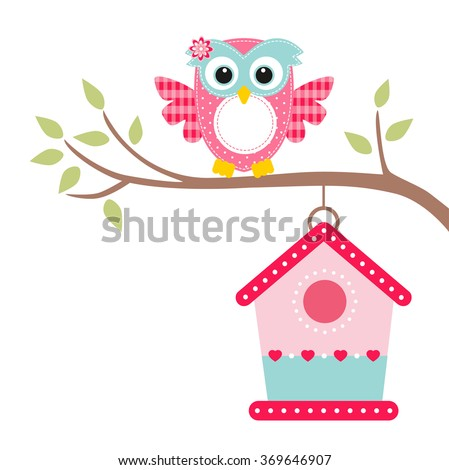 owl on a branch and bird house - stock vector