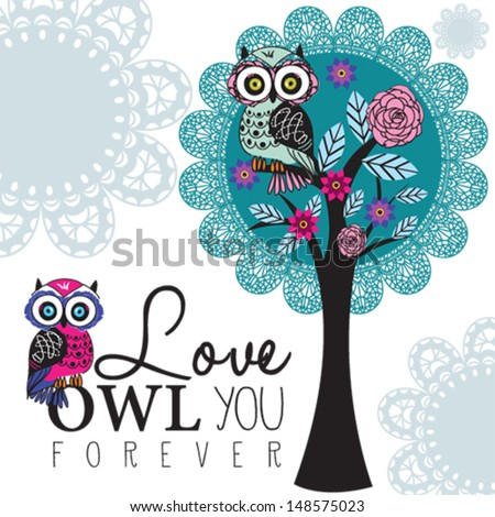 owl on a lace tree - stock vector