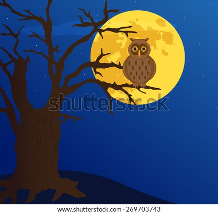 owl on a tree, vector - stock vector