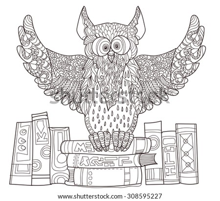 Owl on books - hand drawn doodle vector on white background. - stock vector