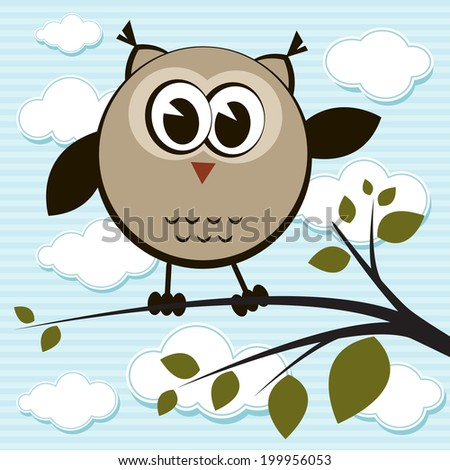 Owl on the tree  - stock vector