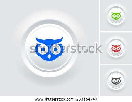 Owl on White Bevel Round Button - stock vector