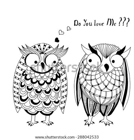 Owl pair - stock vector