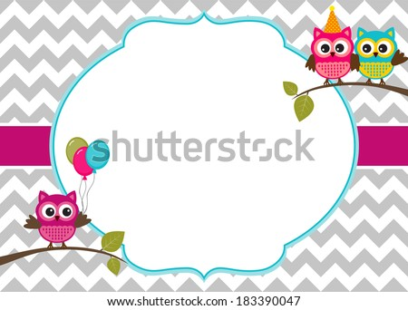 Owl party invitation card template with white frame for your text - stock vector