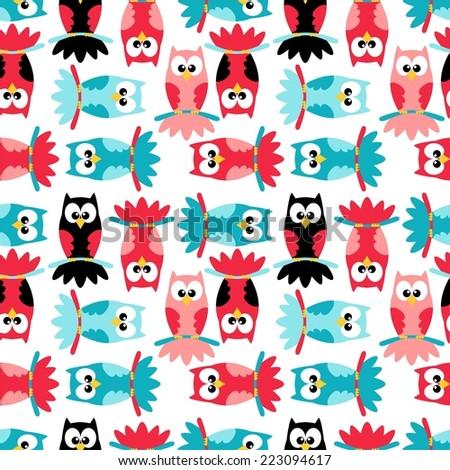 owl pattern background - vector illustration - stock vector