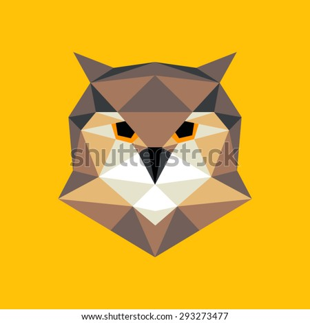 Owl portrait. Abstract low poly design. Vector illustration. - stock vector