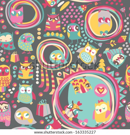Owl seamless background. Hand drawn vector illustration. - stock vector