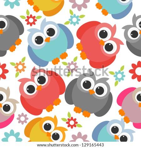 owl seamless pattern - stock vector