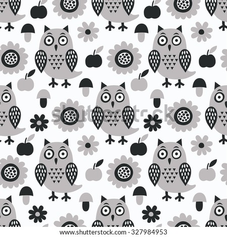Owl seamless pattern. Surface kid decoration with colorful owls, flowers and apples.Vector illustration. Cloth design, wallpaper, wrapping. - stock vector