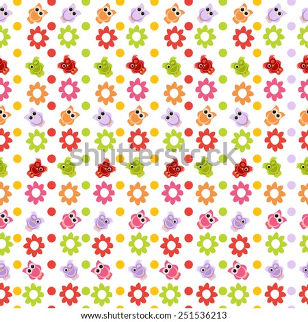 owl seamless pattern with flowers. vector illustration - stock vector