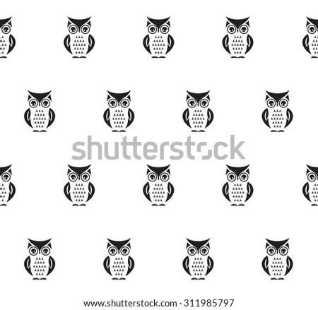 Owl seamless vector pattern - stock vector