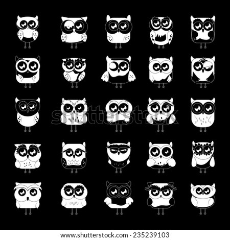 Owl Set - Isolated On Black Background - Vector Illustration, Graphic Design Editable For Your Design - stock vector