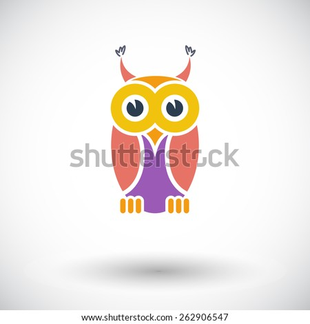 Owl. Single flat icon on white background. Vector illustration. - stock vector