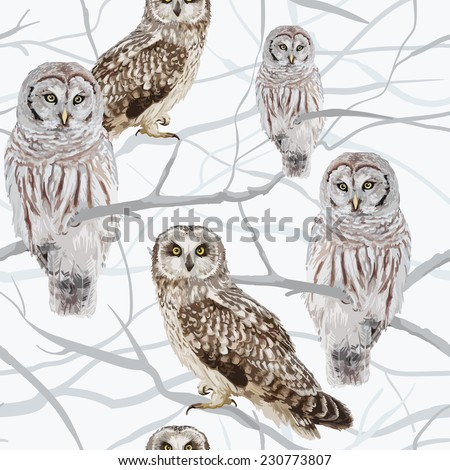 owl sitting on a branch - stock vector