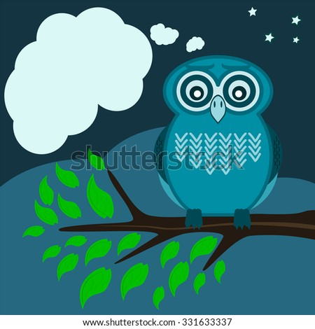 Owl sitting on a tree branch, green leaves with a speech bubble - stock vector