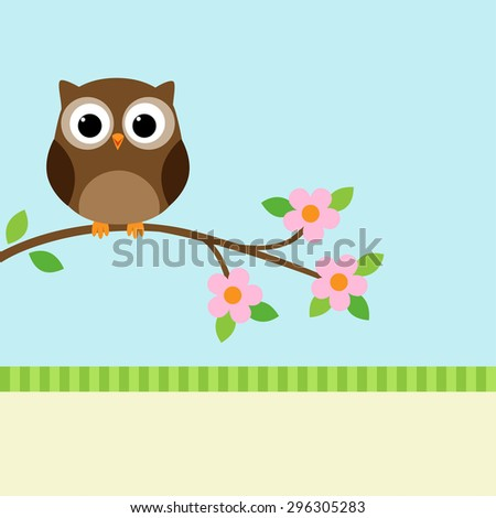 Owl sitting on blooming branch. Vector illustration - stock vector