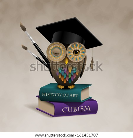 Owl sitting on books, concept of art education, eps10 vector - stock vector