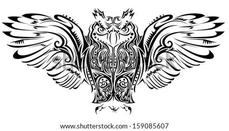 Owl tattoo - stock vector
