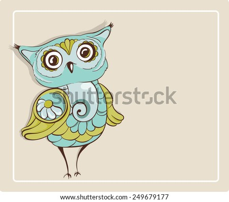 Owl. Template for greeting card with place for text. Hand drawn vector illustration - stock vector