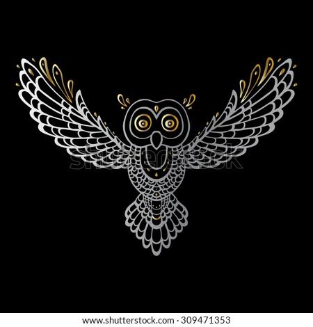 Owl. Tribal pattern. Polynesian tattoo style. Vector illustration. - stock vector