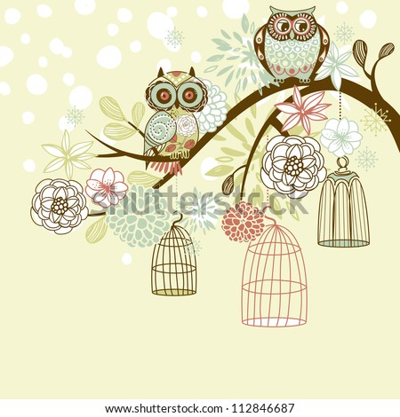 Owl winter floral background. Owls out of their cages concept vector - stock vector