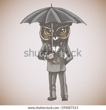 Owl with umbrella in a tuxedo.Vector hand drawn illustration. - stock vector