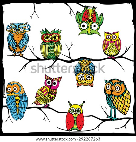 Owl world - retro vivid owls on simple white background with black frame - stock vector