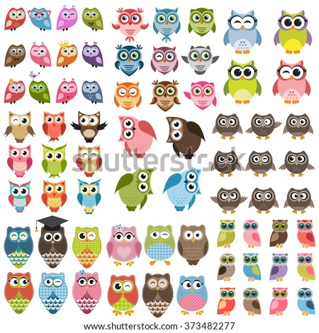 Owls and owlets set - stock vector