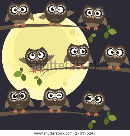 owls on branches with full moon behind them - stock vector