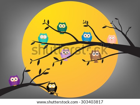 Owls on tree at midnight with full moon background. Vector illustration - stock vector