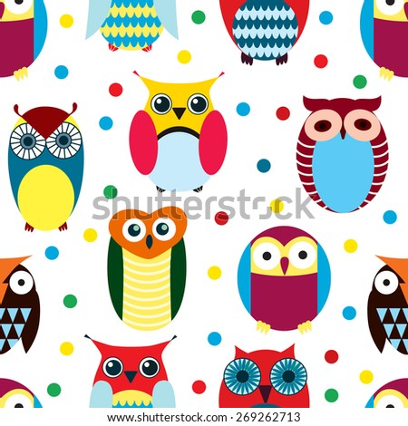 Owls pattern - stock vector
