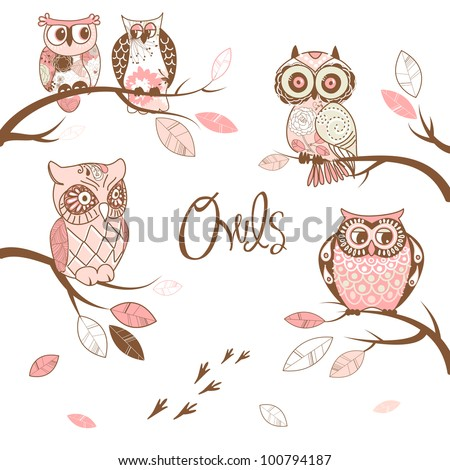Owls, trendy card with owls sitting on the brunches - stock vector