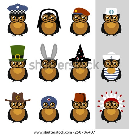 Owls with hats and caps - stock vector