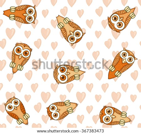 Owls with hearts - pastel seamless background in cartoon style. Hand drawn vector design. Endless pattern for Valentines day. - stock vector