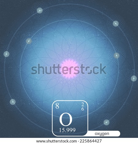 Oxygen Atom with Electron Orbits and Properties - Vector Illustration - stock vector