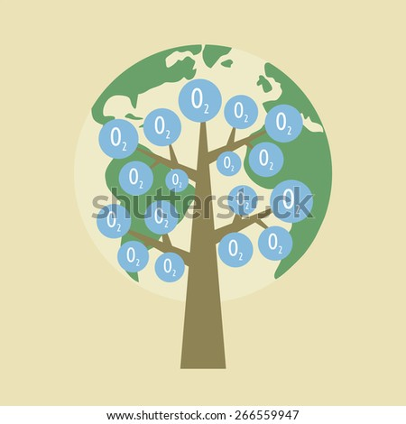 oxygen tree, environmental concept, flat style - stock vector