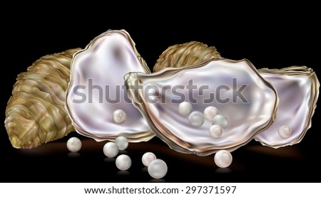 oysters shells with pearls on a black background - stock vector