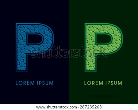 P, Abstract Font, Text, Typography, concept luxury natural blue and green, pattern, graphic vector - stock vector