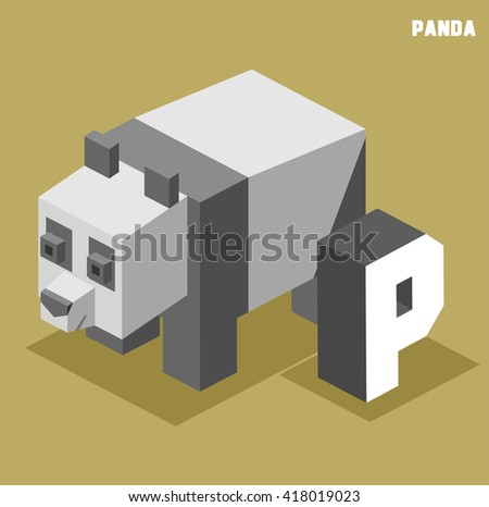 P for Panda. Animal Alphabet collection. vector illustration - stock vector